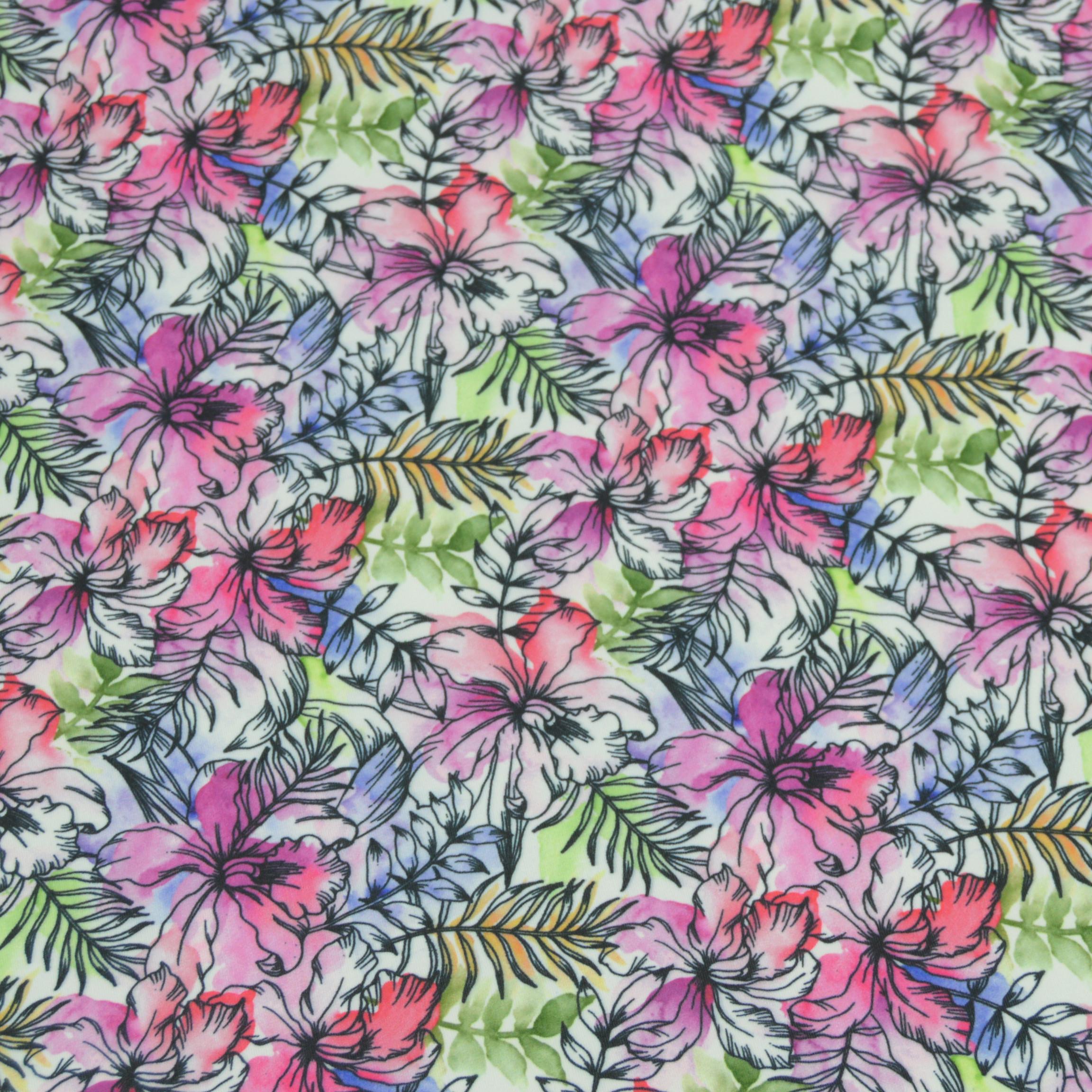 Mikrofibra drukowana - tropikalne liście i różowa orchidea
