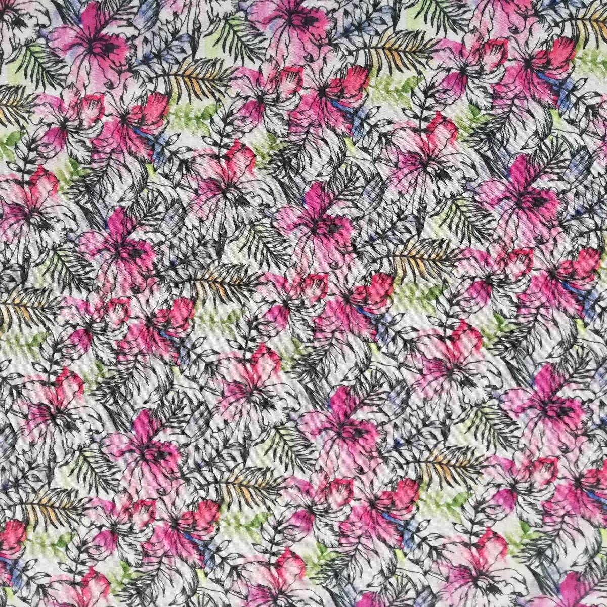 Dzianina drukowana - tropikalne liście i różowa orchidea